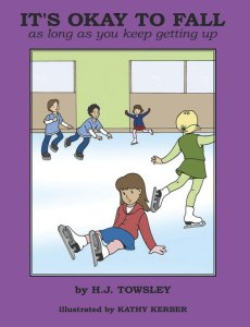 "It's Okay to Fall is written by a former competitive ice skater and coach H.J. Towsley. This beginning ice skaters' book features an uplifting story that follows the first lesson of a young girl with her coach. ""After Kayla's first timid steps onto the ice, not only does she get to howl like a wolf and stomp on the ice, but she learns that falling is the most important lesson of learning to skate,"" reports Amazon.com. Geared for ages 3-8, but good for skaters of all ages, it's both a ""how-to"" and a beautiful picture book."