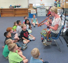 Children at Bend Elementary School love making music with teacher Abbie Ehorn, a music specialist with Evergeen Union School District.