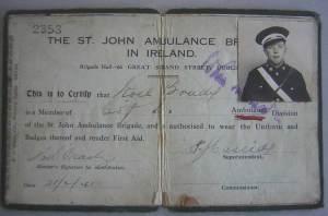 Noel Brady's St. John's Ambulance ID Card