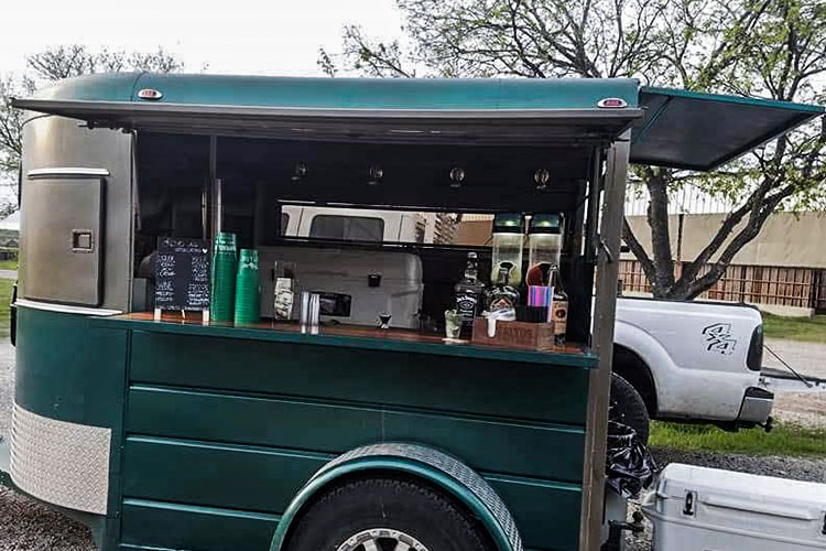Mobile bar setup in a small trailer
