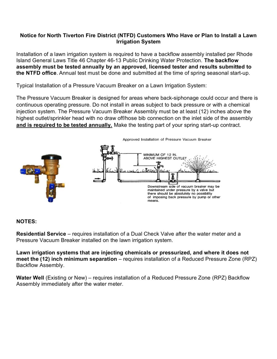 Flyer describing necessary backflow hardware if one has an irrigation system.