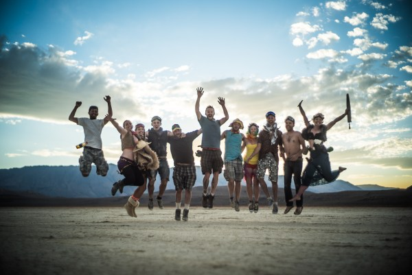 Burning Man 2014 group portrait on the playa at sunset