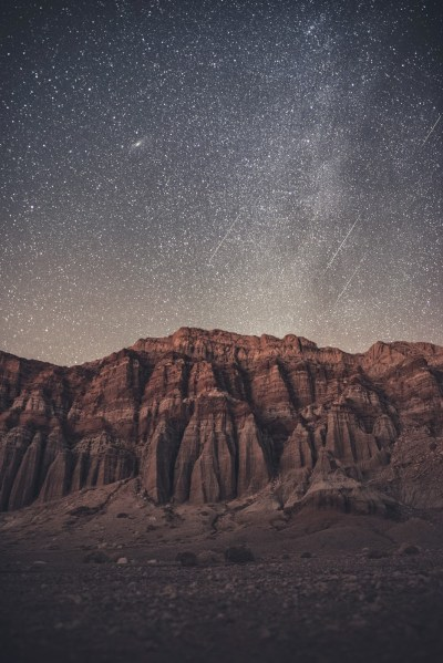 The Geminids meteor shower over Red Rock Canyon State Park