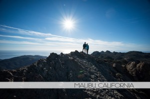 Diana Southern and Ian Norman hiking to Sandstone Peak in Malibu, California