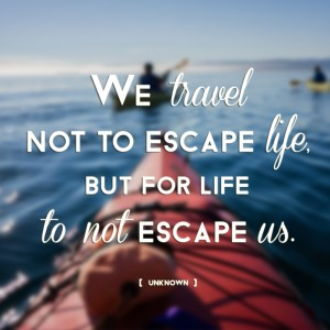 """We travel not to escape life, but for life to not escape us."""