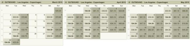 Norwegian fare calendar spring 2015 LA to Copenhagen