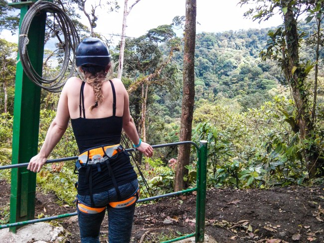 Diana Southern in her ziplining gear on Sky Trek with Sky Adventures Arenal, Costa Rica