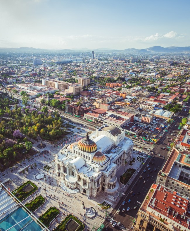 view of Palacio de Bellas Artes from above on Torre Latinoamericana