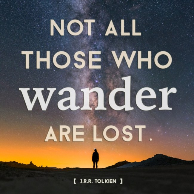 """Not all those who wander are lost"" travel quote on Milky Way background"