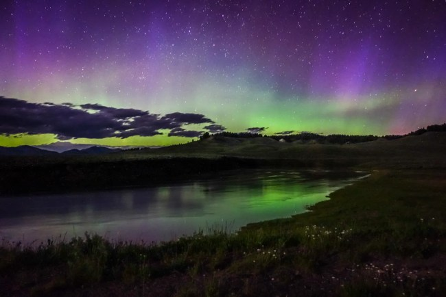 The Northern Lights (Aurora Borealis) in Yellowstone National Park, Wyoming, USA