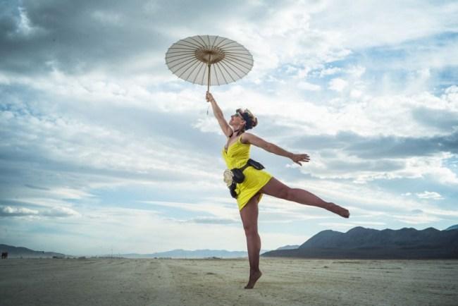 stunning travel portraits: desert dress-up at Burning Man