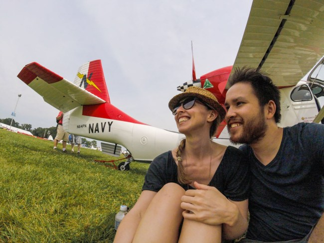 Diana and Ian at Oshkosh 2015 with the Seabee Warbird