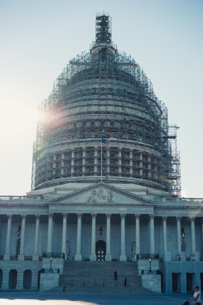 Capitol Building dome under construction 2015