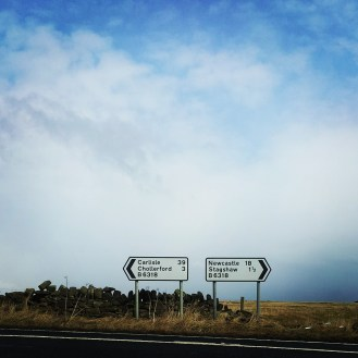 Up to the Military Road (Hadrian's Wall) and turn right