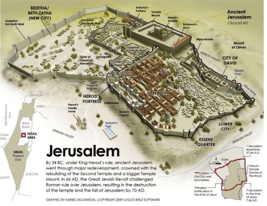 Jerusalem 66AD overhead map