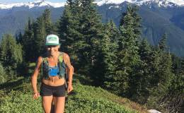 All smiles above treeline on the Church Mountain trail; Mt. Baker in the background