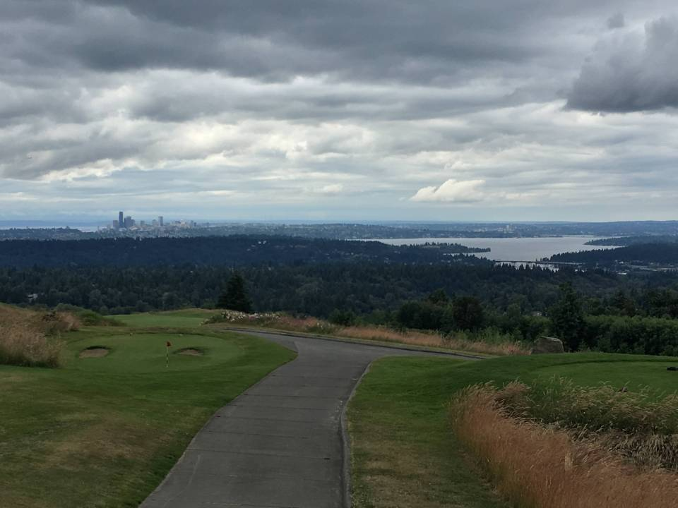 The view from the top of the climb gives fantastic vista of the Olympic Mountains, Seattle, Mercer Island, and Lake Washington.