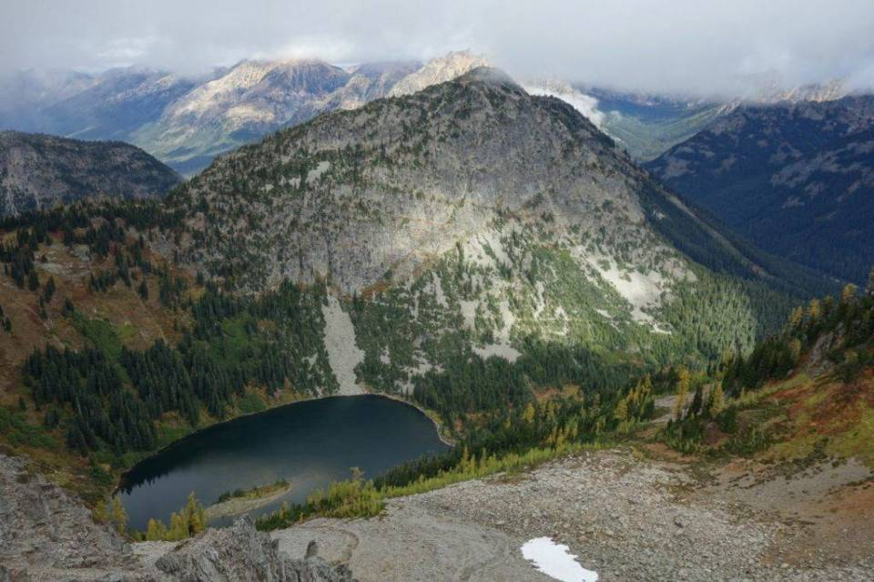 Lake Ann from Maple Pass; the trail cuts across the slope above Lake Ann