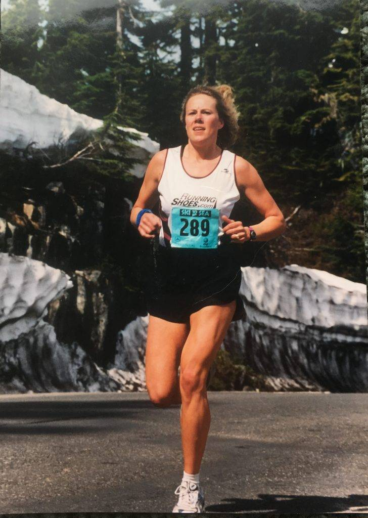 Jamie on the infamous ~8-mile downhill running leg at the Ski to Sea Relay in Whatcom County.
