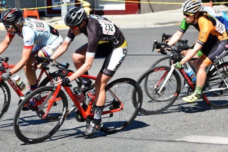 Jamie racing the criterium at the Baker City Stage Race
