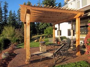 Kitsap County landscape design company displays an example of their work in a beautiful backyard setting.