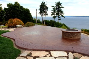 stamped concrete fire pit