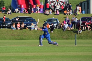 Porterfield drives for the north west warriors in the T20 against Leinster lightning