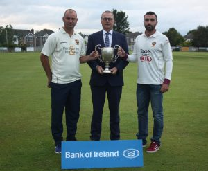 Ian Stone (Bank of Ireland) pictured with the two captains ahead of this weekends North West senior cup final Andy Britton (Brigade) and Stuart Thompson (Eglinton)