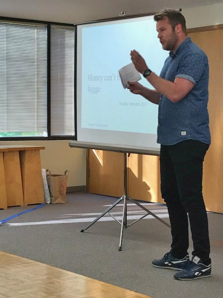 Kristian Næsby, Visiting Danish Lecturer UW Scandinavian Studies Department, discussing the Danish concept of 'hygge'