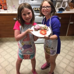 Emma and Maija busy helping in the kitchen making smørrebrød