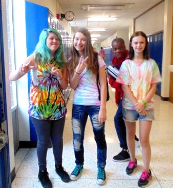 Freshmen on Tie Dye Tuesday