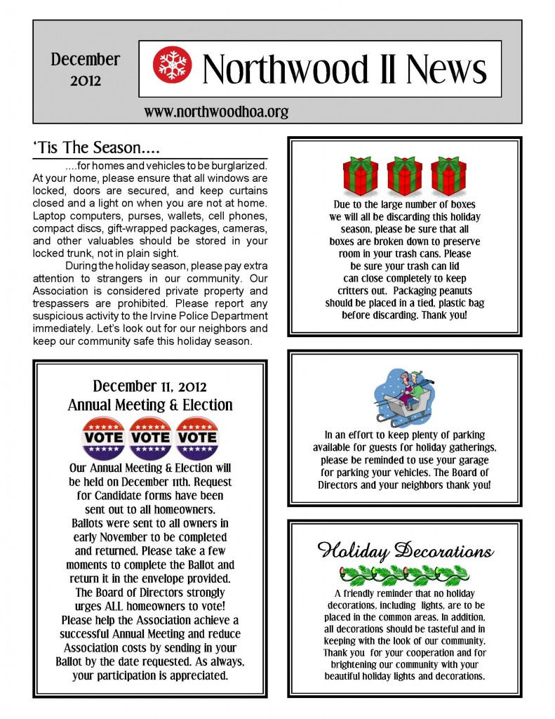 Pin on newsletter templates at the end of the article you can find an hoa newsletter template. December 2012 Northwood Ii Nwii Hoa Community Association Newsletter Irvine Ca 92620 Northwood Ii Irvine Ca 92620 Orange County