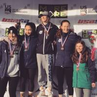 Maddie Kostoss '22 (center), Jaden Klebba '21 (second from left) and Gabby Cote '22 (right) on the podium at the 2019 NYS Girls' U16 State Championships (Photo: NYSEF)