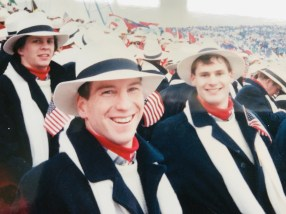 Mr. Roy at the opening ceremonies of the 1988 Winter Olympic Games (Photo provided).
