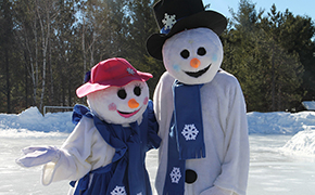 A male and female snowman characters named Chilly Charlie and Blizzard Belle