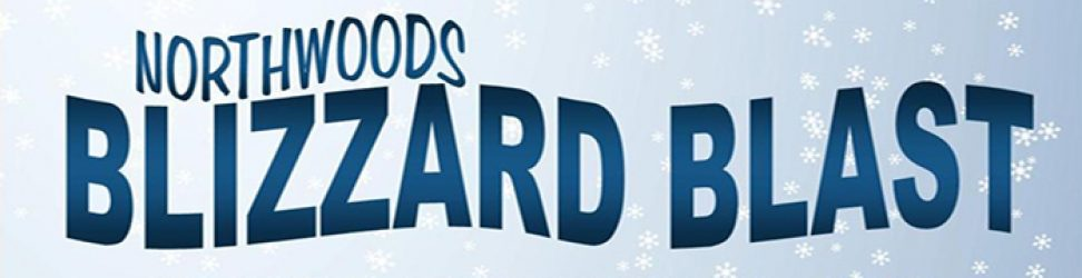 Conover Wisconsin Northwoods Blizzard Blast logo blue letters in front of lighter blue snowflake background
