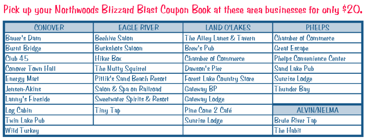 List of businesses that are in the Northwoods Blizzard Blast Coupon Book