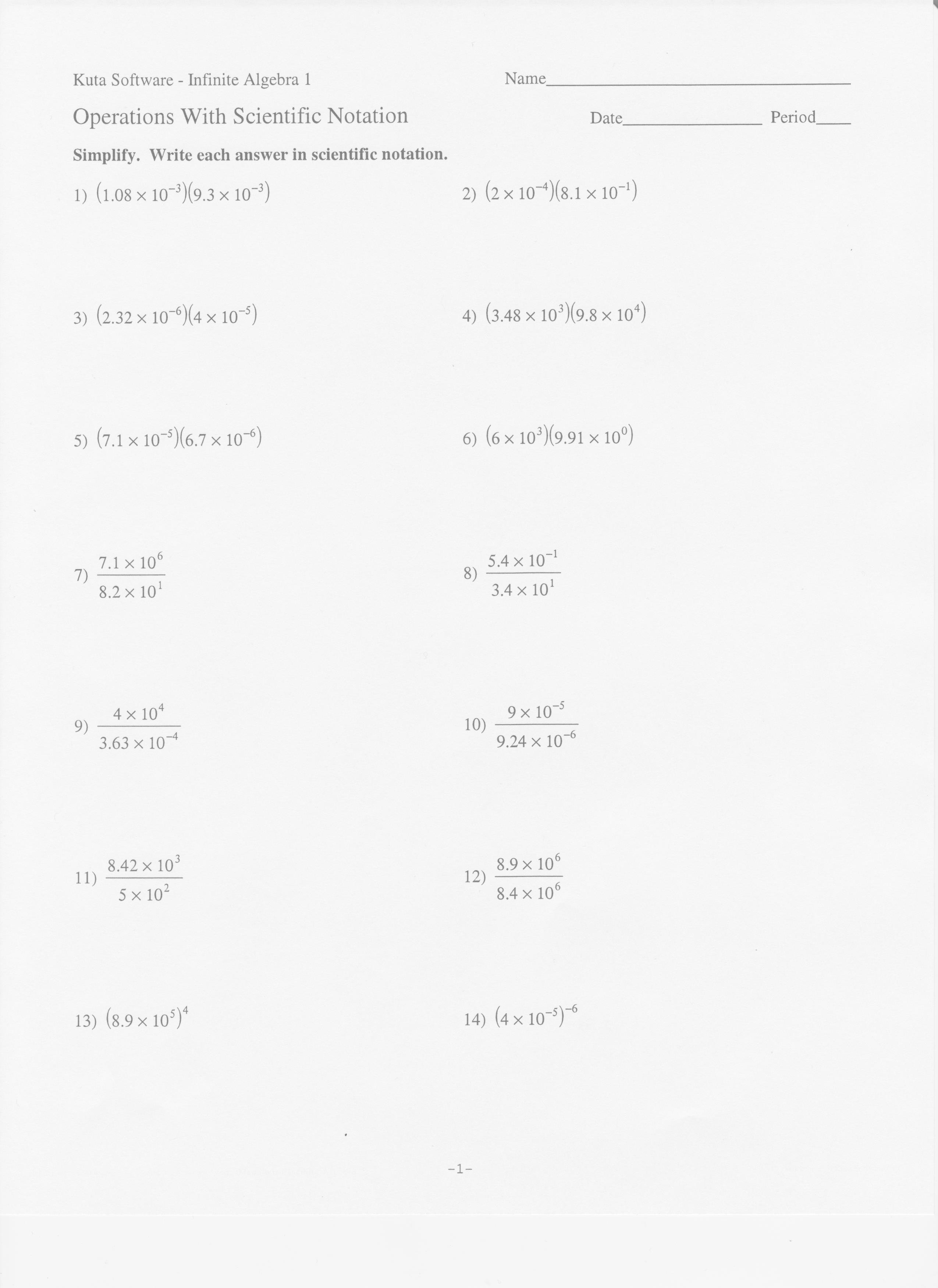 Multiplying And Dividing Scientific Notation Worksheet