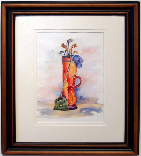 watercolor of golf bags