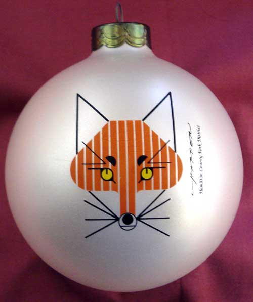 Charley Harper Glass Ornament - Fox on white background