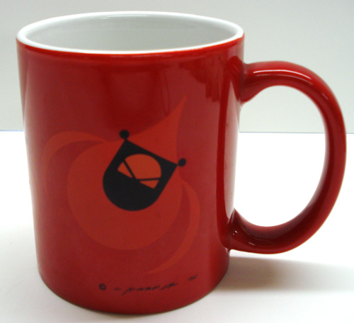 Charley Harper Flying Cardinal mug on red background