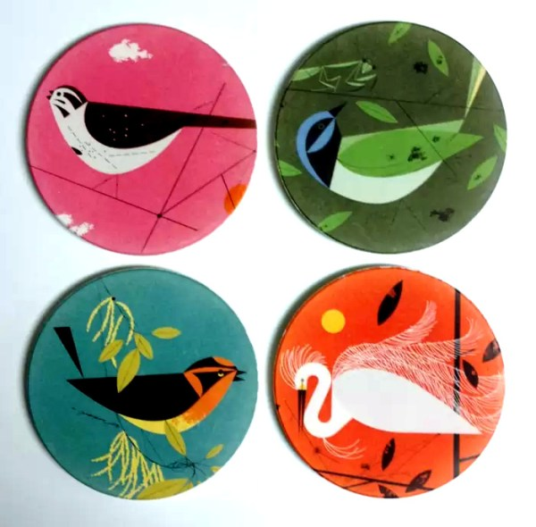 Charley Harper set of 4 coasters with images of birds titled Feathered Friends