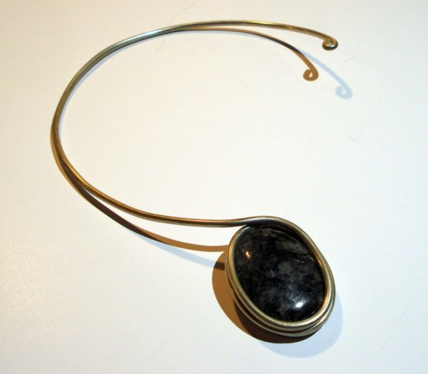 silver necklace with granite stone