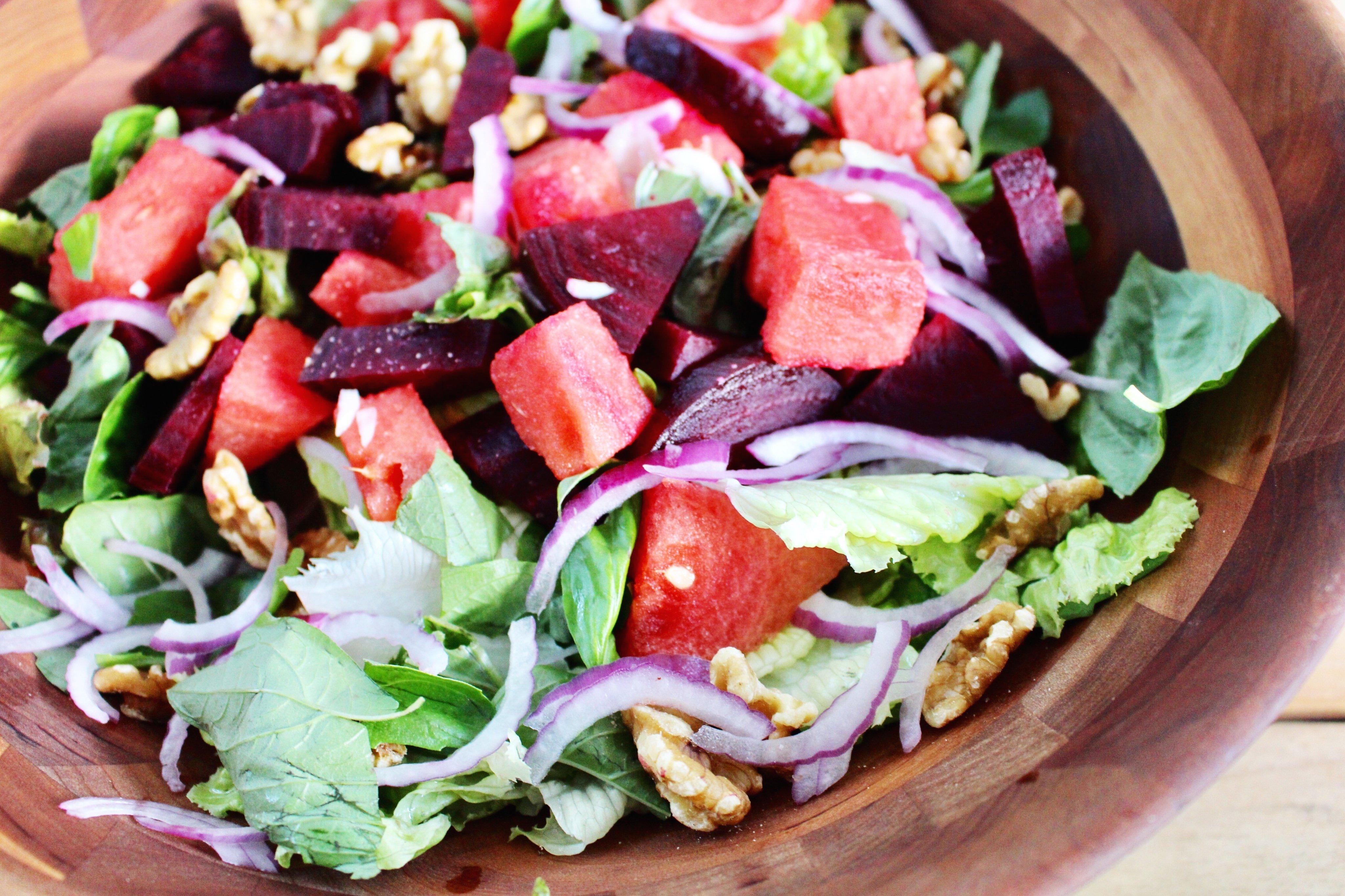 summer watermelon and beet salad
