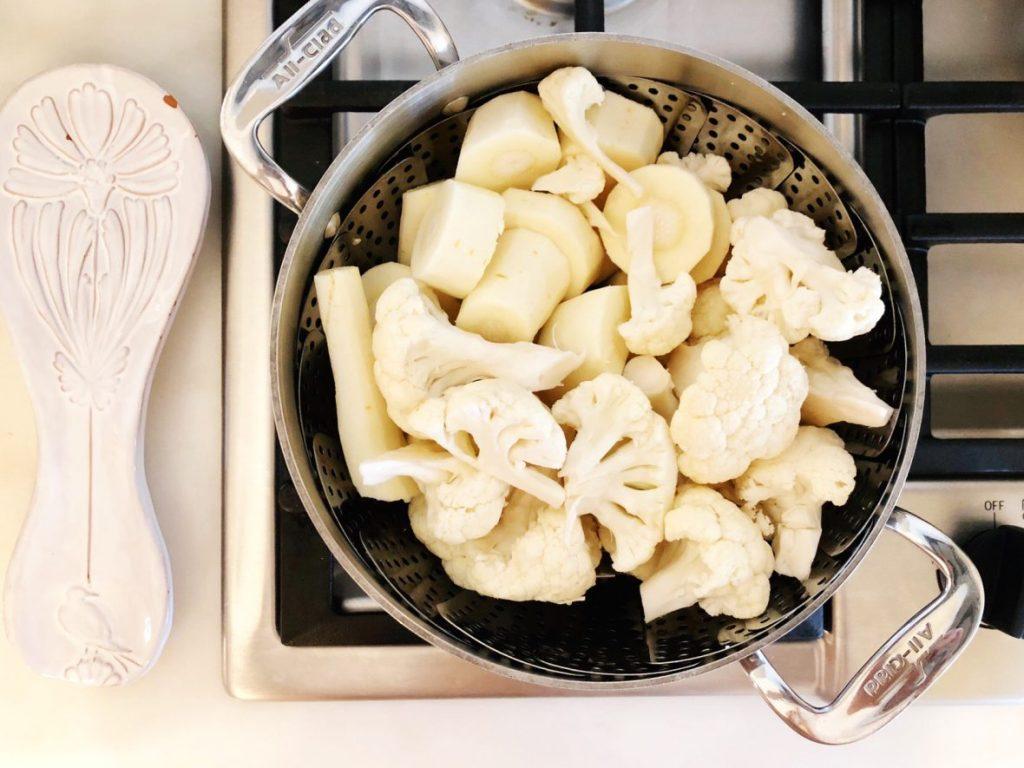 steam cauliflower and parsnips
