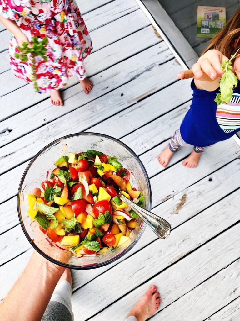 tomato basil fruit salad