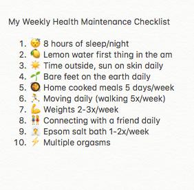 health maintenance list