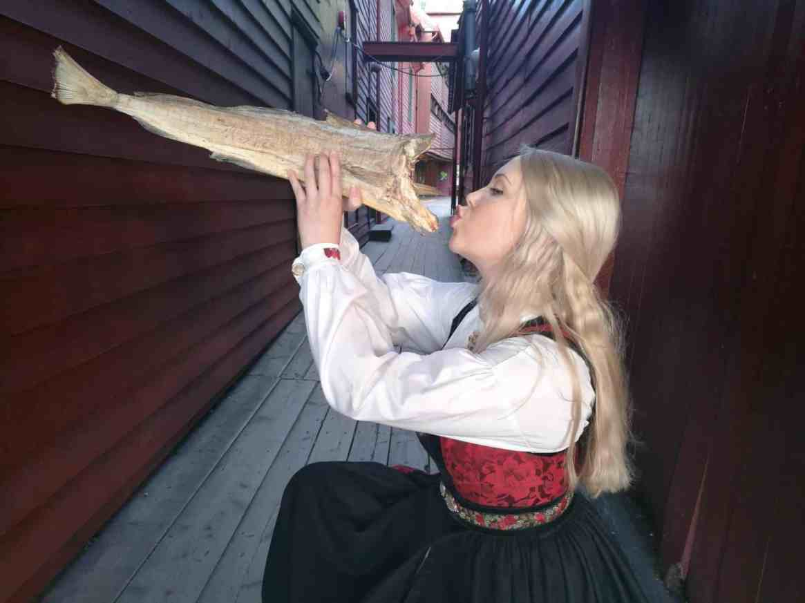 Norwegian national costume at Bryggen, Bergen