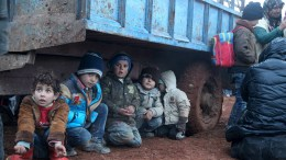Displaced children, who fled with their families
