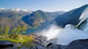 The waterfall and the fjord